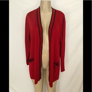 Exclusively Misook open front red cardigan L